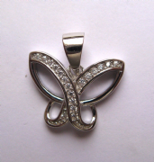 Sterling Silver Cubic Zirconia Butterfly pendant 2.12g